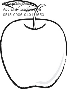 Black and White Clip Art Illustration of an Apple With a Leaf.