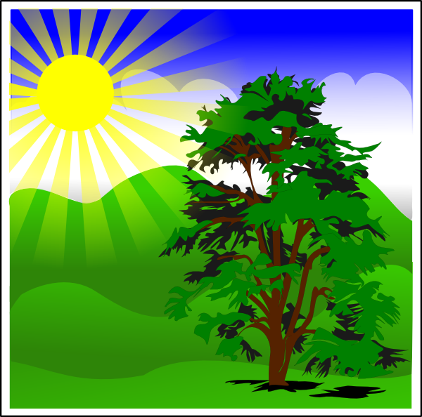Sunny Spring With Blue Sky Clip art.