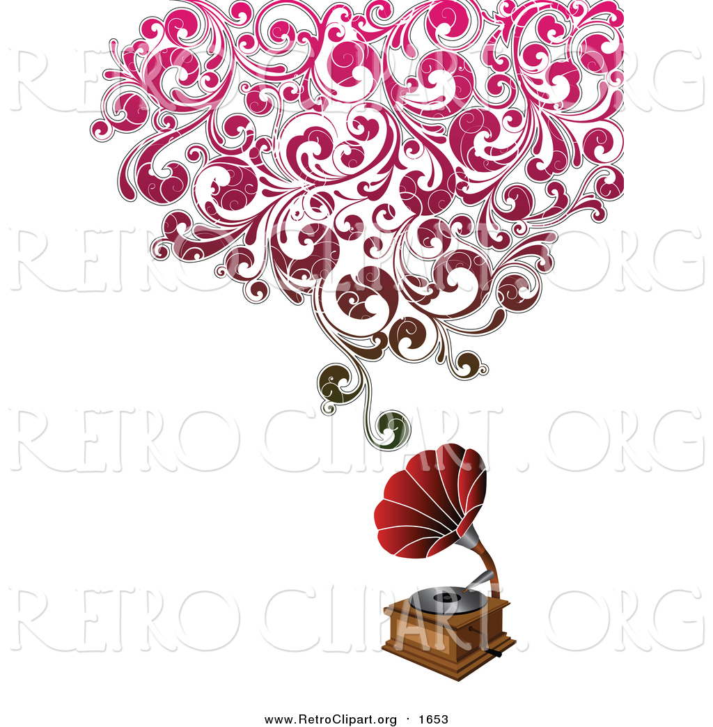 Clipart of a Phonograph with Grungy Red Floral Sound by.
