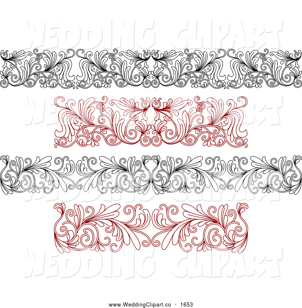 Vector Marriage Clipart of Black and Red Ornate Floral Wedding.