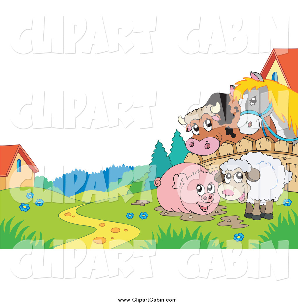 Cartoon Vector Clip Art of a Horse and Cow Looking over a Fence at.