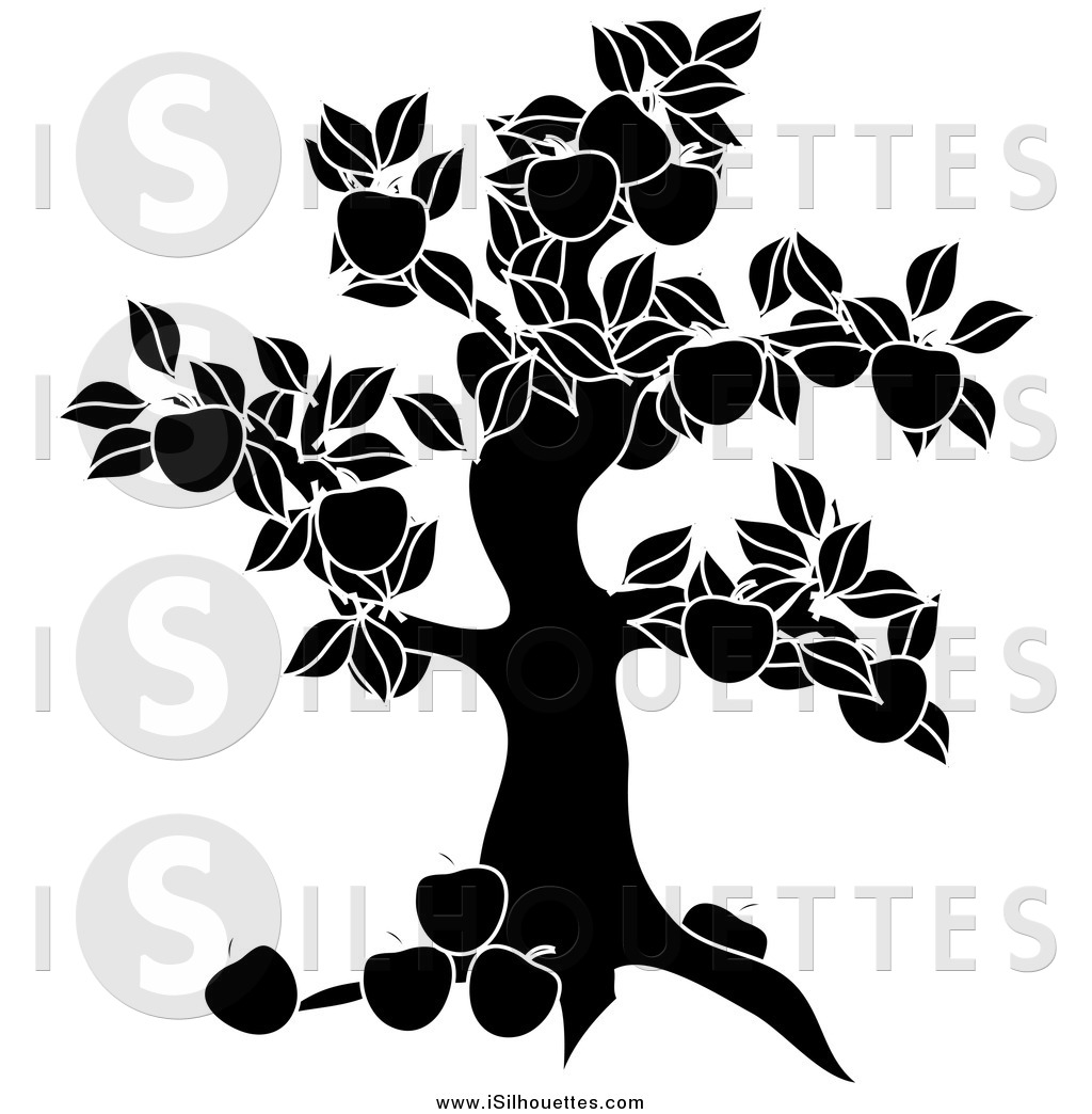 Clipart of a Black and White Apple Tree Silhouette by Pams Clipart.