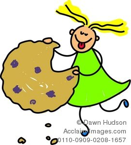 Clipart Illustration of a Happy Little Girl Eating a Giant Cookie.