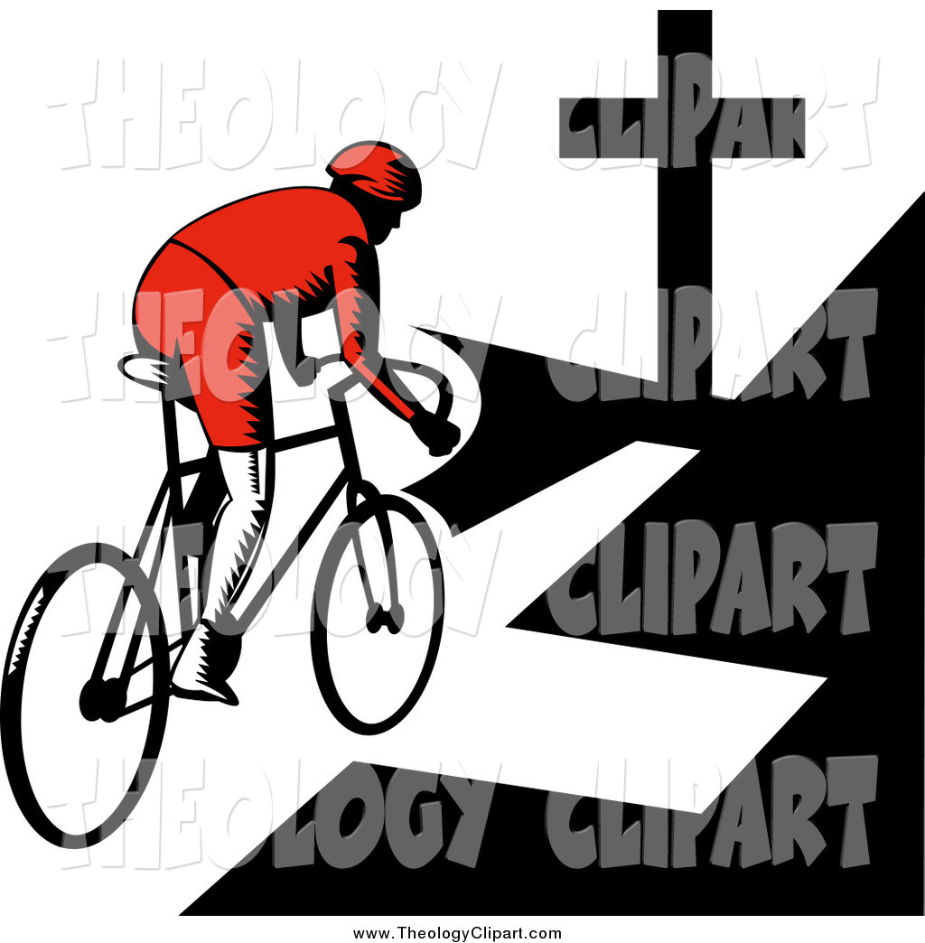 Clip Art of a Retro Woodcut Cyclist Riding Towards a Cross by.