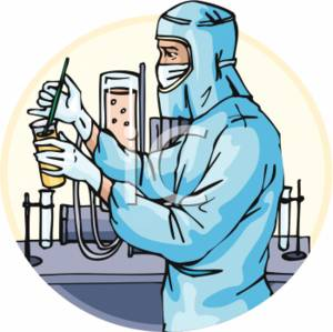 Clipart Picture of a Scientist Wearing Protective Gear, Mixing.