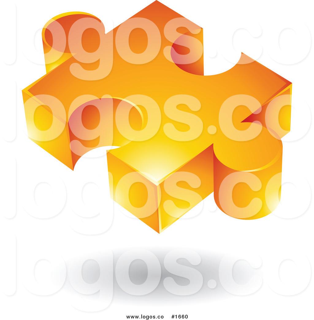 Royalty Free Vector Orange Puzzle Piece Logo by cidepix.