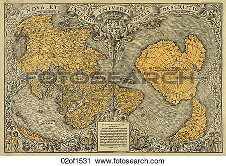 Clipart of world, maps, antique maps, 1680, 1520, antique 02of1531.