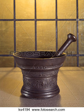 Stock Photo of Ancient 1680 Mortar And Pestle ks4194.