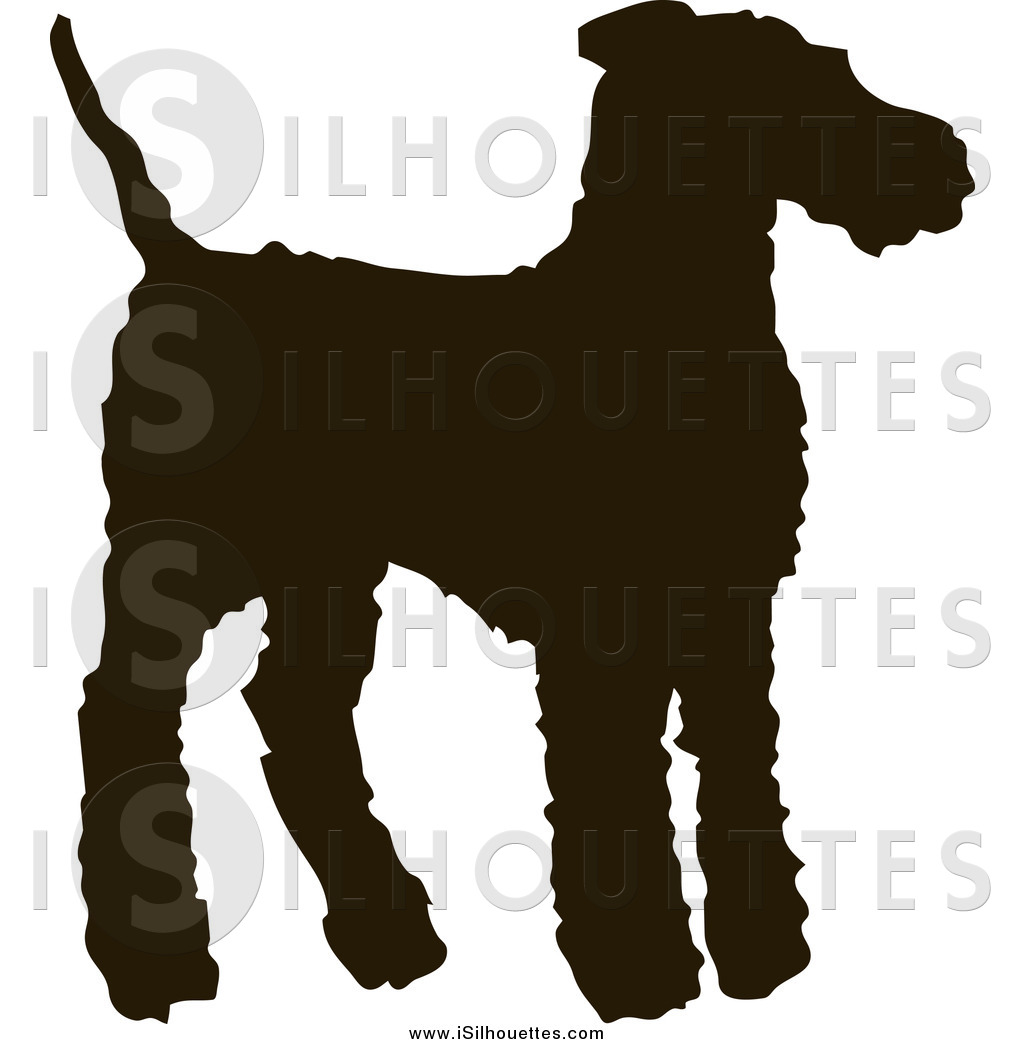 Clipart of a Silhouetted Dark Brown Airedale Terrier Dog by.