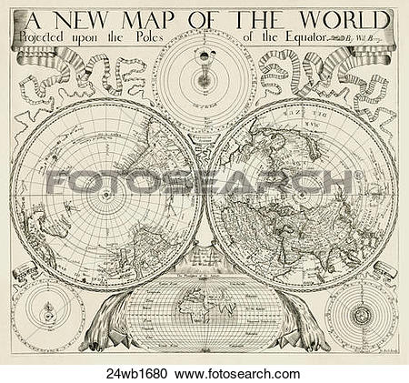 Stock Illustrations of world, maps, antique maps, 1680, 1520.