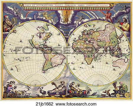 Clip Art of world, maps, antique maps, 1680, 1520, antique.