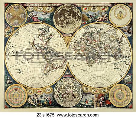Clipart of world, maps, antique maps, 1680, 1520, antique 03gr1561.