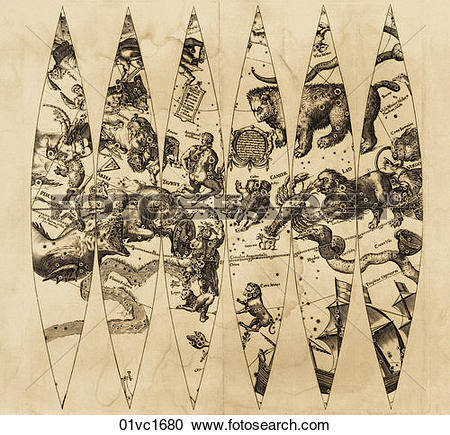 Stock Illustrations of Antique Celestial Illustration (copper.