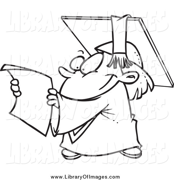 Clip Art of a Black and White Happy Graduate Kid Reading a.