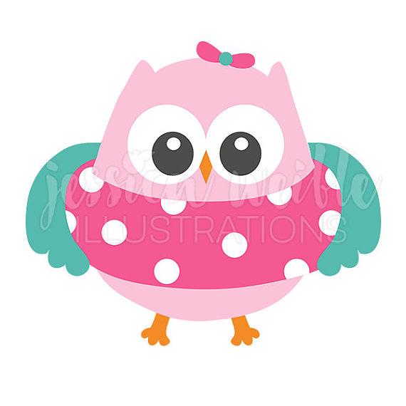 Floatie Girl Owl Clip Art, Cute Digital Clipart, Summer Clip art.