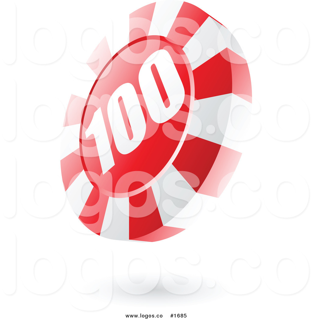 Royalty Free Vector Red Casino Roulette Chip with Number 100 Logo.