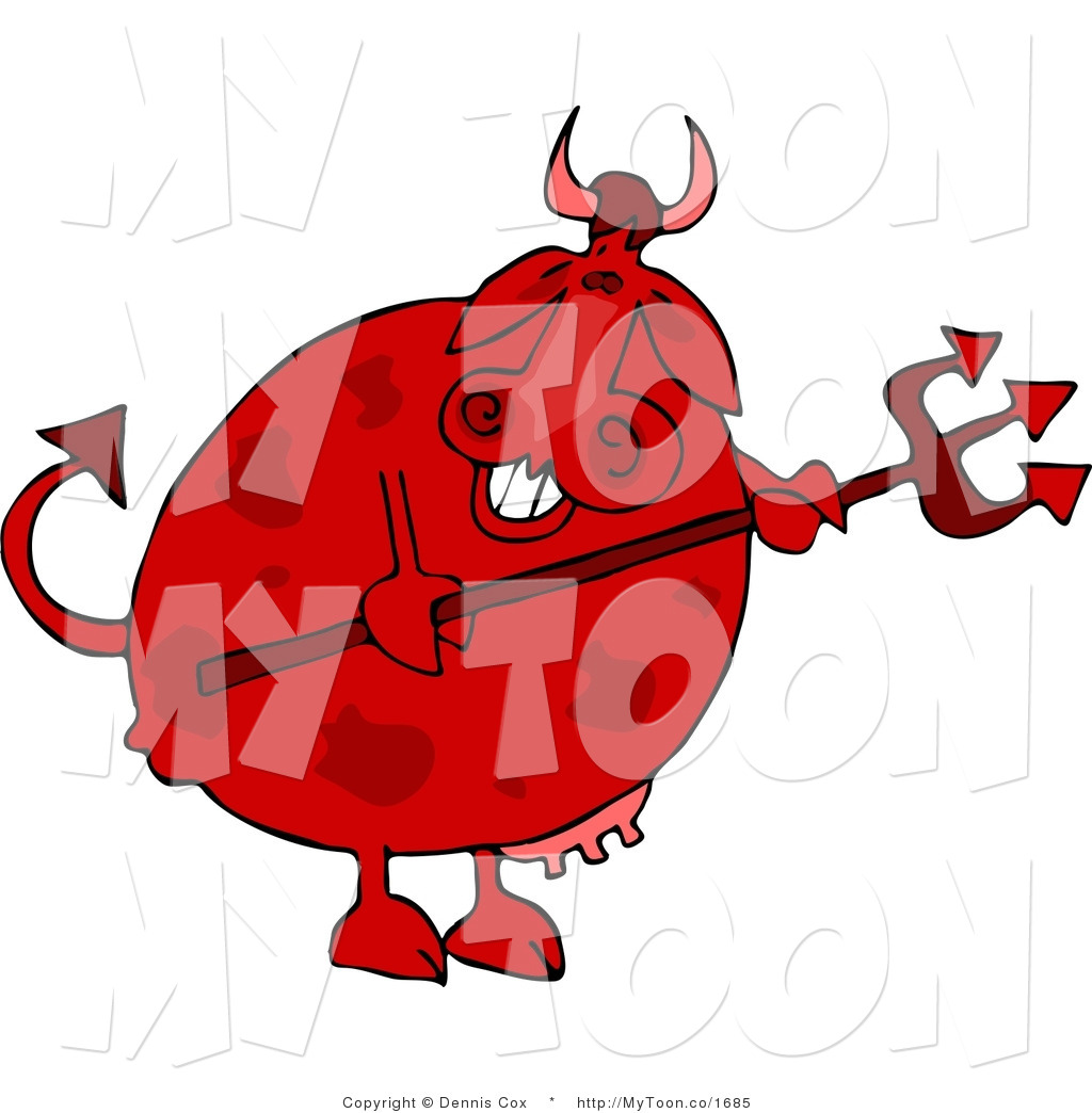 Cartoon of an Evil Smiling Male Devil Cow Holding a Pitchfork by.