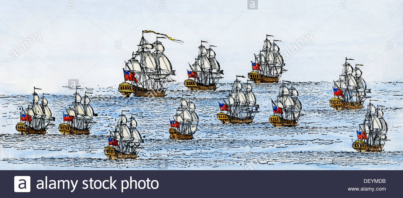 English War Fleet Of The Early 1700s, Some Ships Built In New.