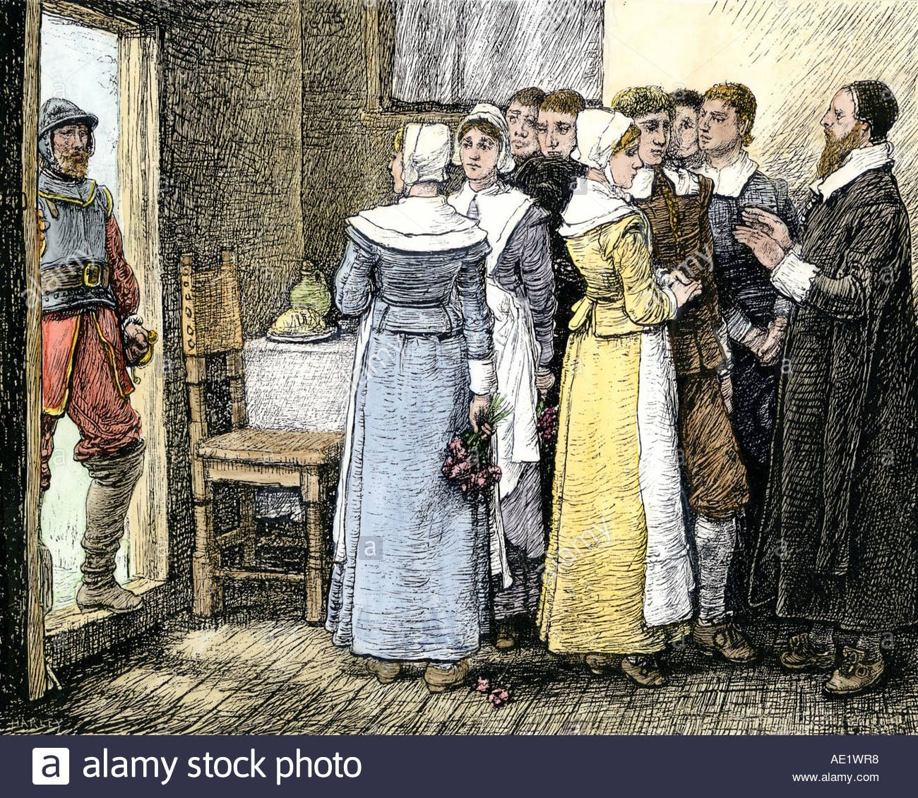 Puritan wedding in New England 1600s. Hand.