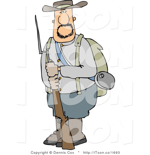 Cartoon Confederate Army Soldier Holding a Rifle by Dennis Cox.