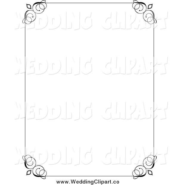 Vector Marriage Clipart of a Decorative Black Wedding Border.