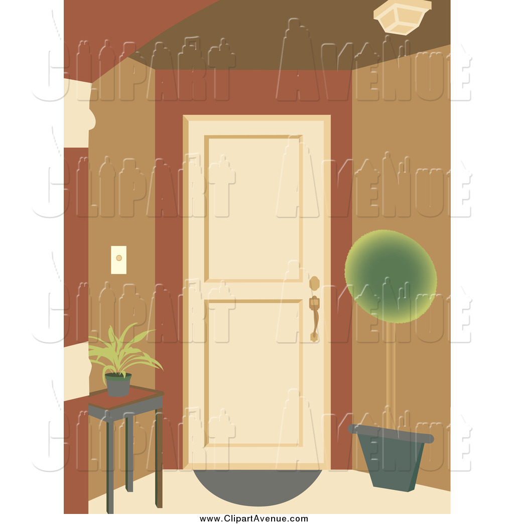 Avenue Clipart of a Doorway Entrance with a Table and Potted Plant.
