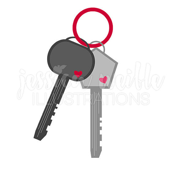 Heart Keys Clip Art, Cute Digital Clipart, Valentine Key Clip art.