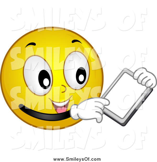Vector Clipart of a Yellow Smiley Face Holding a Tablet by BNP.