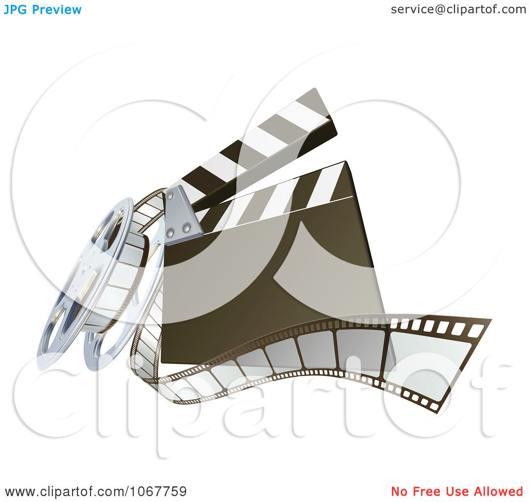 Clipart 3d Clapperboard And Film Reel.