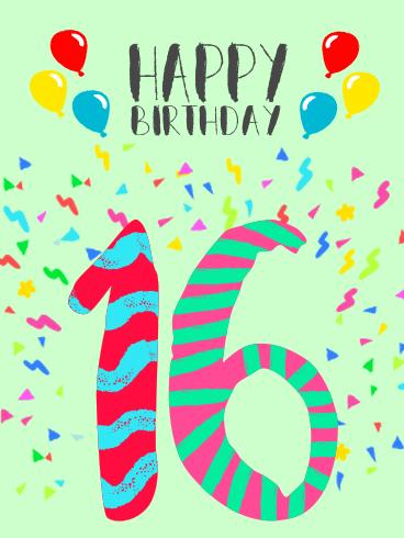 Happy 16th Birthday Card.
