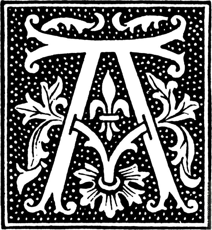 clipart: initial letter A from beginning of the 16th Century.