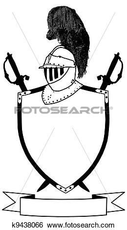 Clip Art of Isolated 16th Century War Shield Swords Banner and.