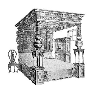 Antique Clipart: A 16th Century Bed..