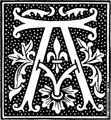 Picture: clipart: initial letter A from beginning of the 16th.