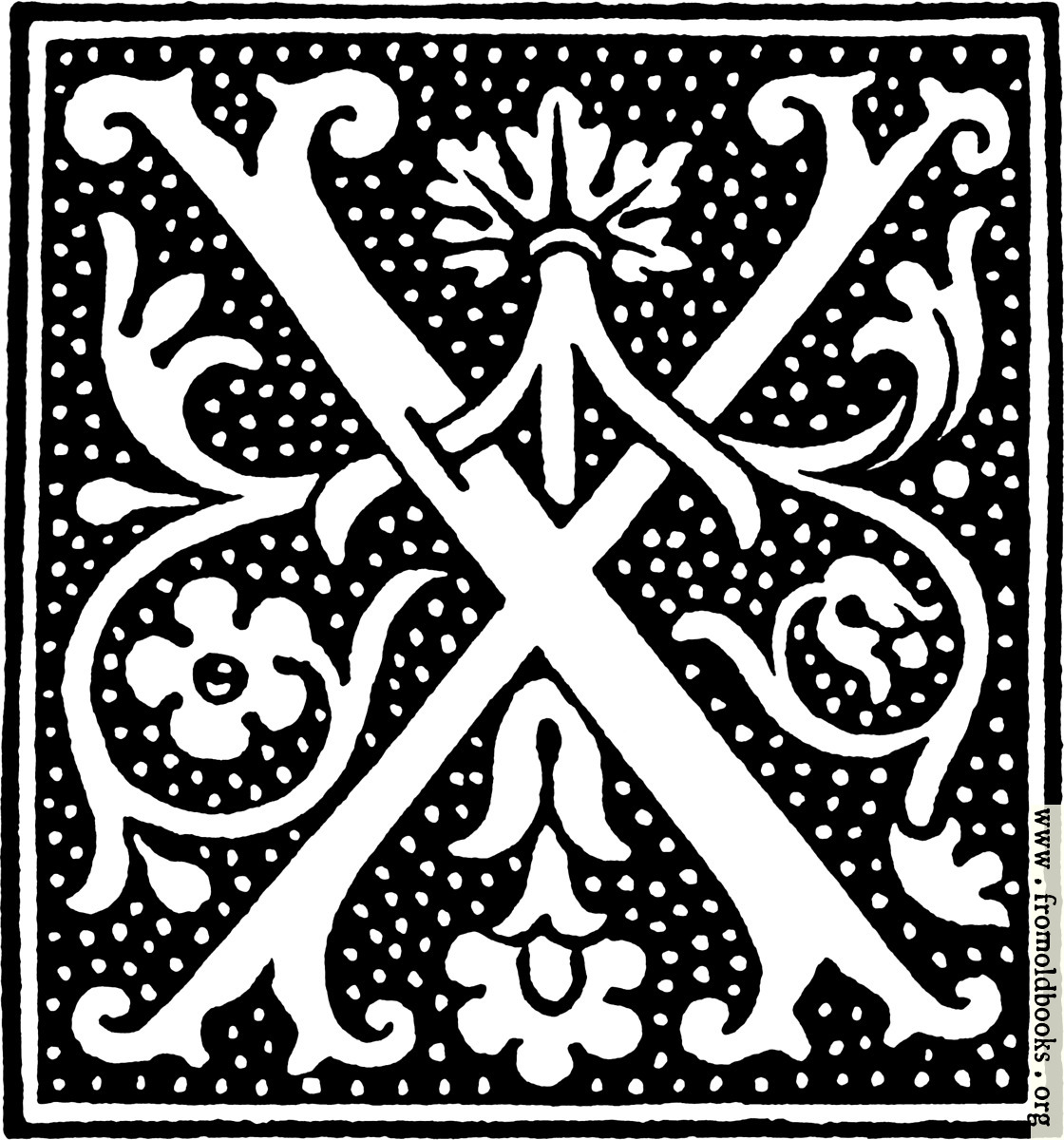 clipart: initial letter X from beginning of the 16th Century.