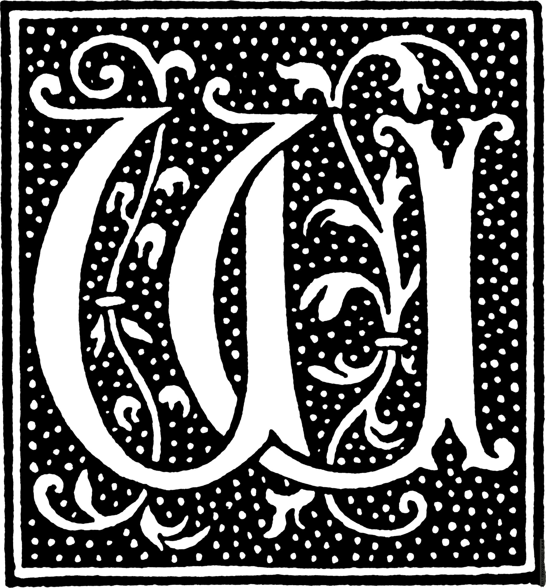 clipart: initial letter W from beginning of the 16th Century.
