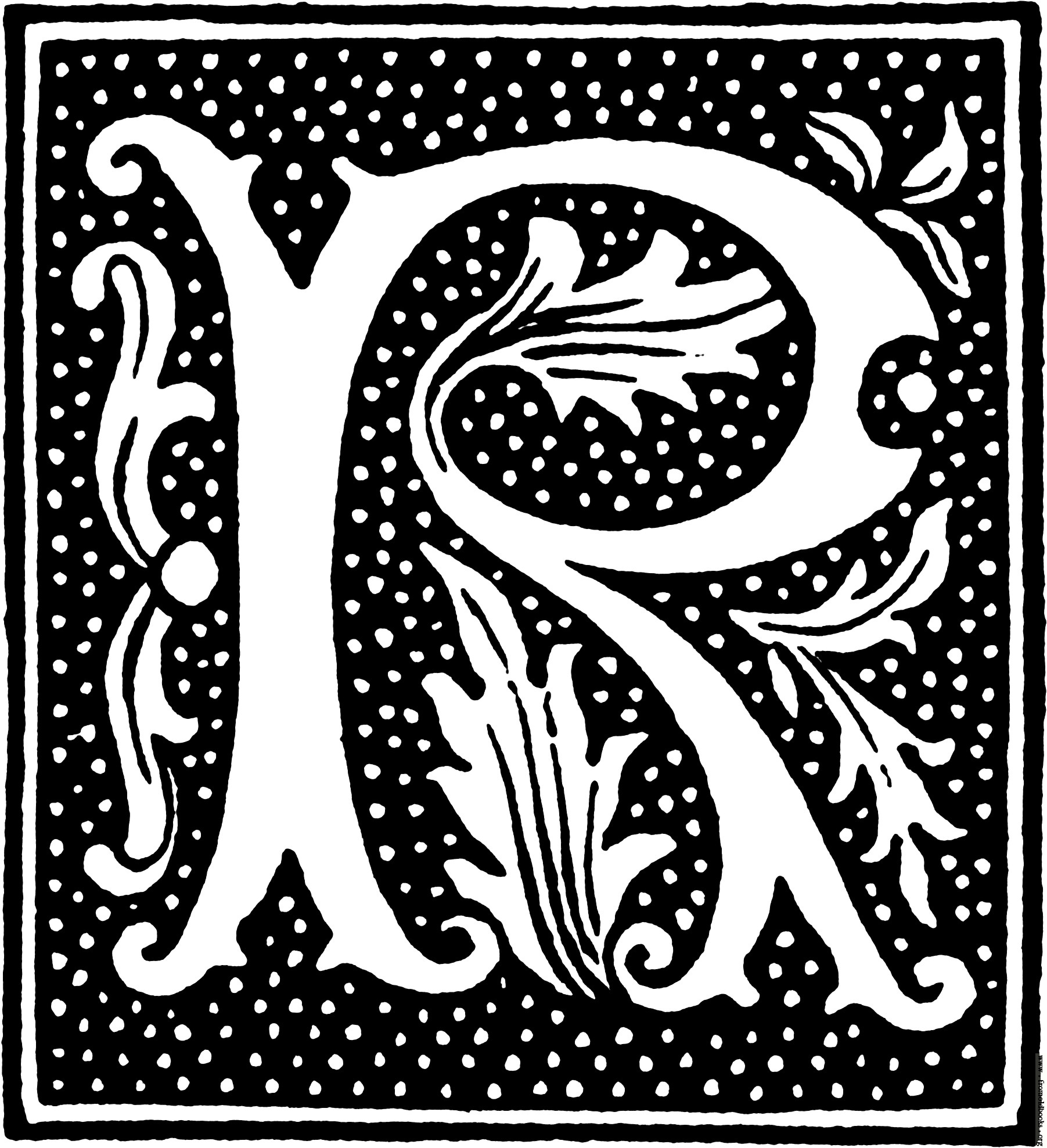 clipart: initial letter R from beginning of the 16th Century.