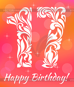 Celebrating 17 years birthday. Decorative Font.