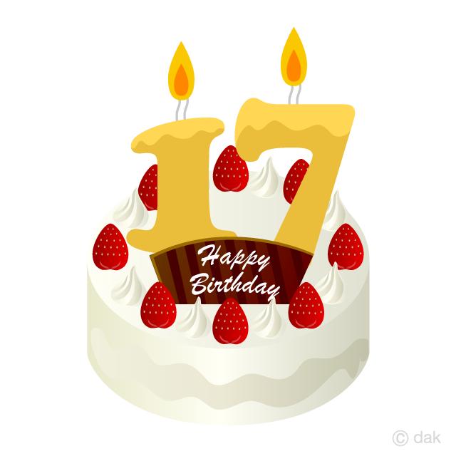 Free 17 Years Old Candle Birthday Cake Clipart Image|Illustoon.