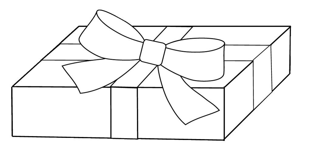 white gift clipart to colour, 17 cm.