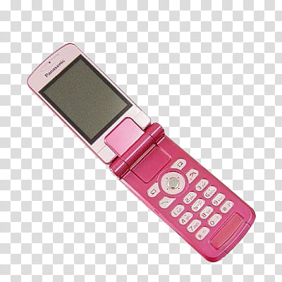 Objects, pink and white Panasonic flip phone transparent.