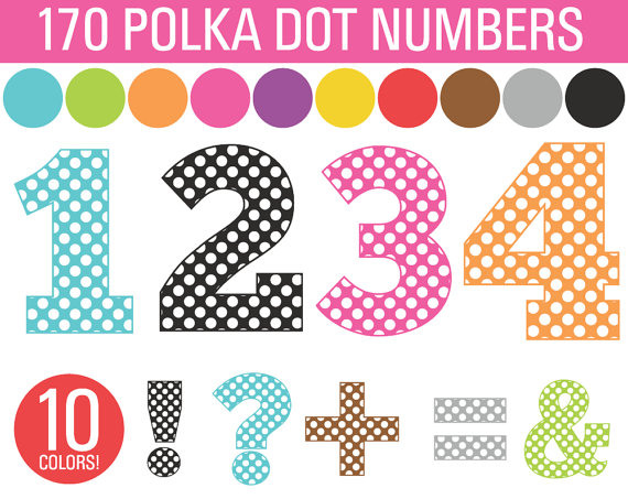 Clipart Polka Dot Numbers Symbols Bundle 170 Numbers.