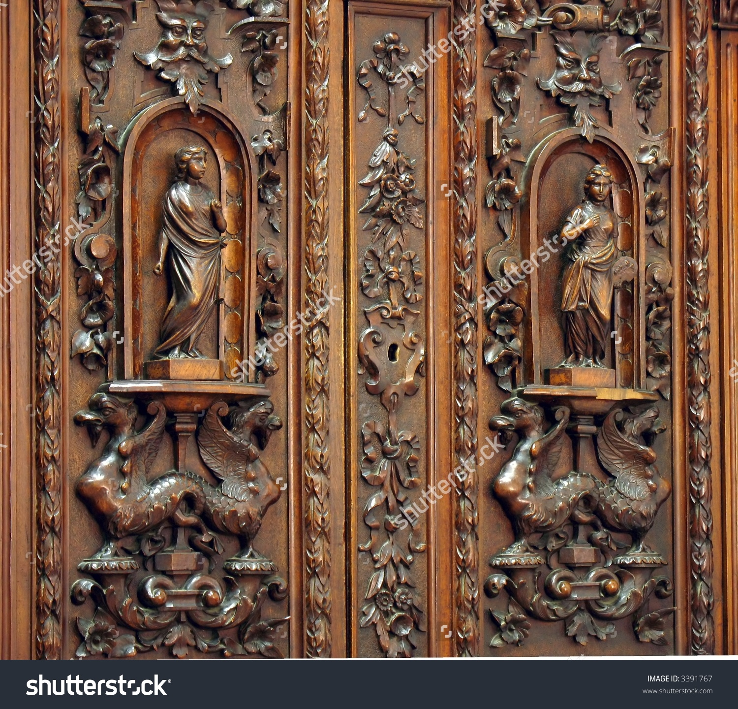 Antique Wardrobe Beautiful Wood Carvings On Stock Photo 3391767.