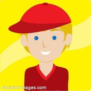 Clip Art Icon of a Blond Boy Wearing a Baseball Cap.