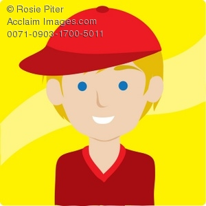 Clipart Illustration of a Boy in a Red Baseball Cap.