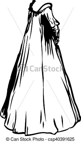 Clip Art of Outlined 1700's Era Nightgown.