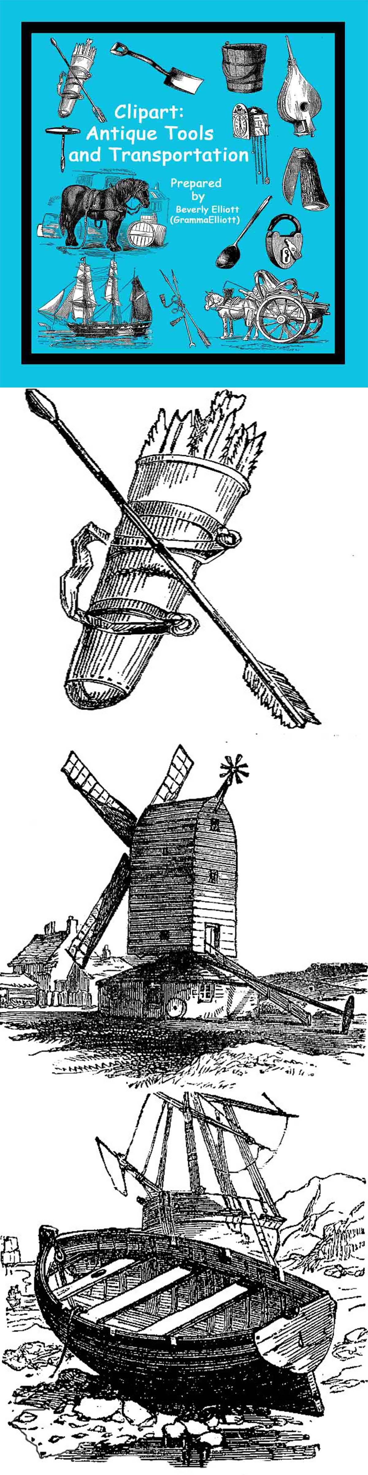 Antique Transportation and Tools Clip Art.