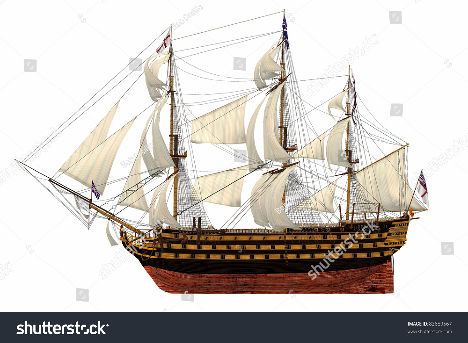 Royalty Free Stock Illustration of HMS Royal Navy Style Tall Ship.