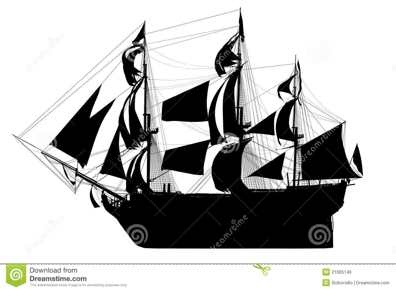 Sailing Ship Silhouette stock illustration. Illustration of cutout.