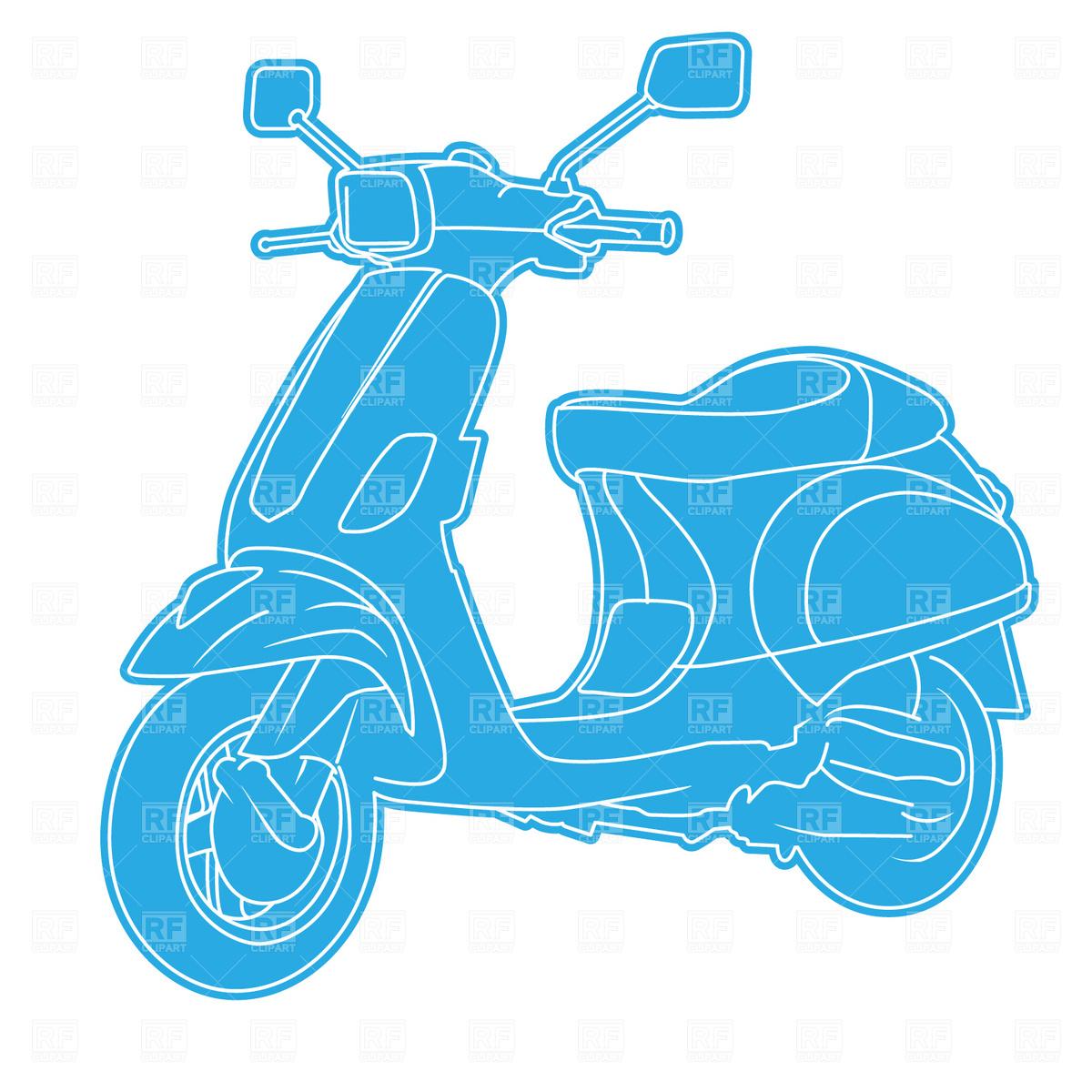 Retro motor scooter Vector Image #1701.